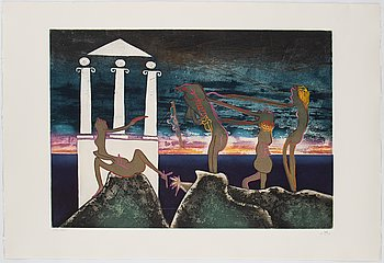 Roberto Matta, an etching with aquatint, signed and numbered 29/125.