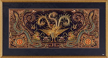A Chinese silk embroidery, 20th century.