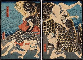 Utagawa Kunisada (Toyokuni III), a coloured diptych, Japan, 19th century.