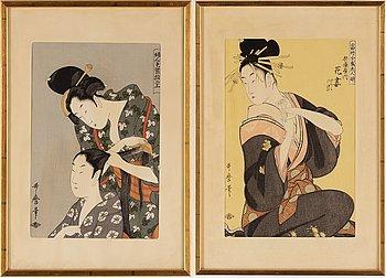 Two woodcuts after Kitagawa Utamaro (c.1753-1806), 20th century.