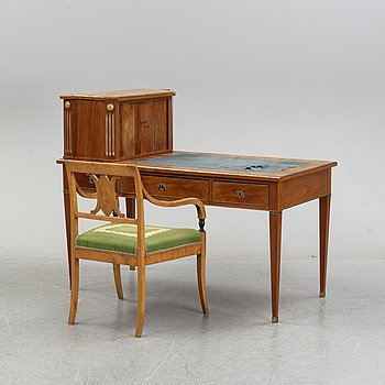 A late Gustavian style mahogany writing desk.