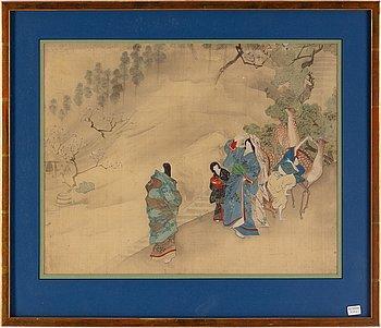 Japanese artist, watercolour on silk, 19th Century.
