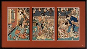Utagawa Kunisada/Toyokuni III (1786-1864), a coloured triptych, Japan, 19th century.