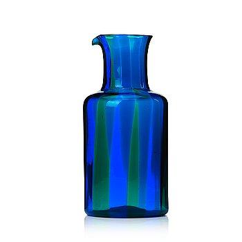 52. Fulvio Bianconi, a blue and green glass pitcher, Venini Murano, Italy 1960s.