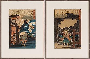 Utagawa Hiroshige I, two woodblock prints, 1845-46.