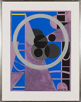 Sam Vanni, gouache, signed and dated -76.