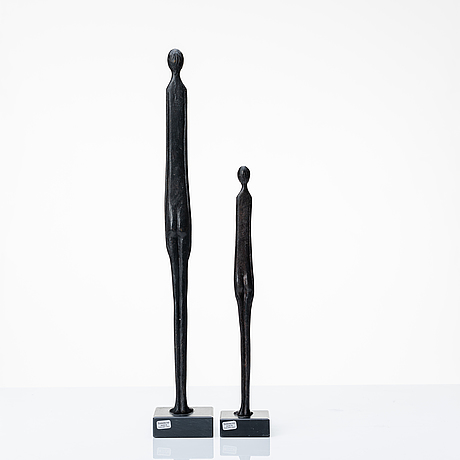 Unkown artist, a set of two bronze sculptures, copy by museo guarnacci, 20th century.