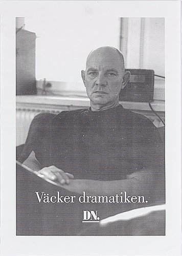 Mikael jansson, philips radio and press print, portrait of lars norén, for advertising campaign dn, sweden.