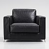 Flexform, a black leather and metal 'bob' easy chair, post 1997.