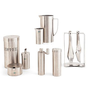 A set of eight stainless steel kitchen objects, 6 marked ZACK.