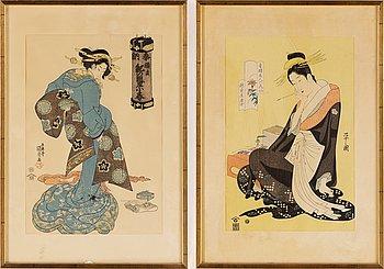 A set of three Bijin-ga woodblock prints, Japan, 19th Century.
