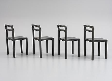 Boris berlin/poul christiansen, a set of six 'non' chairs, komplot design, källemo, 21st century.