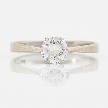 Brilliant cut diamond ring, 0.90 ct according to engraving.