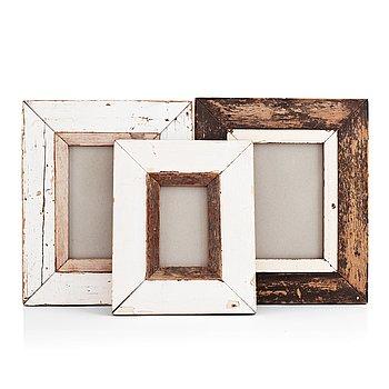 Three 20th century wooden frames.
