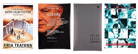 Theater posters, 4 pcs, lars norén.