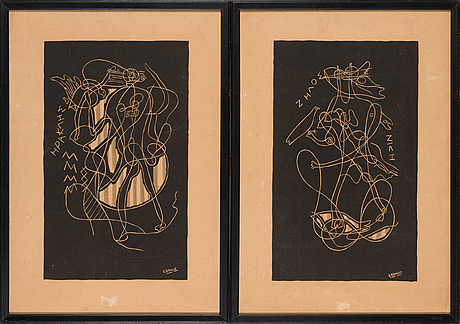 Georges braque, two lithographies, plate signed.