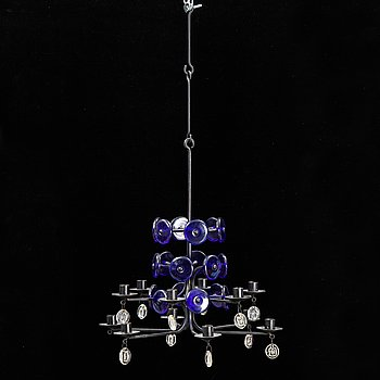 A iron and glass chandelier by Erik Höglund for Boda.