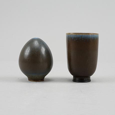 Berndt friberg, a set of two stoneware vases, gustavsberg studio.