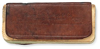 1126. R.M.S. TITANIC THIRD CLASS PASSENGER MALKOLM JOHNSON COLLECTION: NOTEBOOK. Leather and paper 13,5x6 cm. Provenance: Malkolm Johnson. Thence by descent. This notebook is listed on the offical list from the Swedish ministry for foreign affairs.