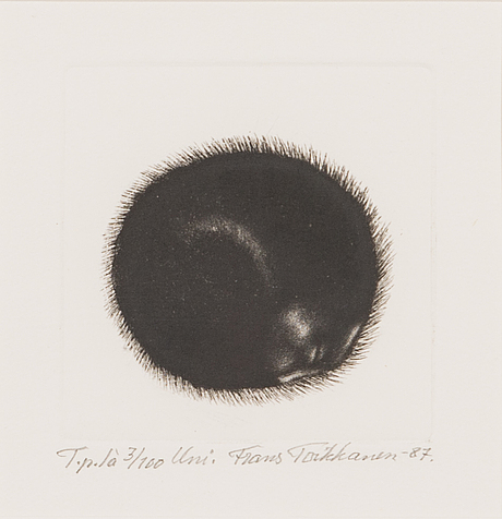 Frans toikkanen, etching, signed and dated -87, numbered t.p.l'a 3/100.