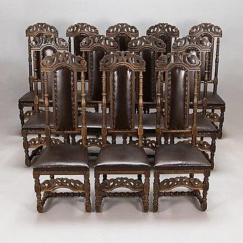 Stolar, 12 st, barockstil, 1900-talets mitt.