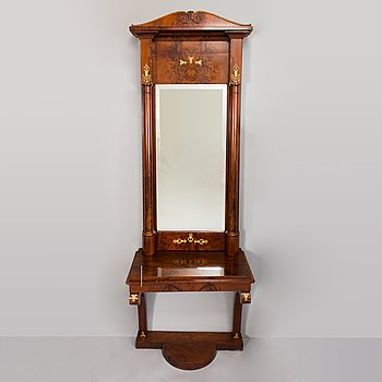 A mirror and console table from the latter half of the 19th Century.