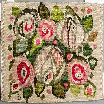 """Barbro Sprinchorn, a textile, """"Rosorna"""", a tapestry variant, ca 24,5 x 25,5 cm, signed S."""