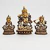Buddha sculptures, 3 pcs, bronze, tibetan chinese, 20th century.