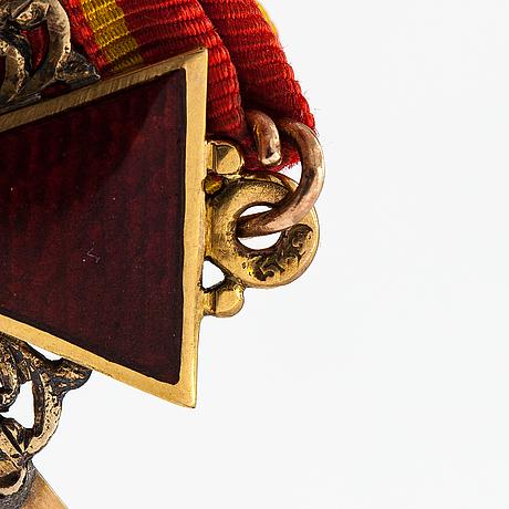 Mitali, pyhän annan ritarikunta, 3lk, 14k kultaa, emalia, 1800-luvun loppupuoli, a.keibel, pietari.