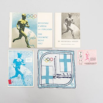 Brochures, entrance ticket and cloth for the Olympic Games in Helsinki 1952.