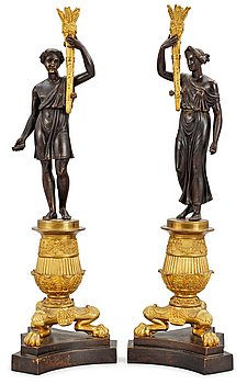 1027. A pair of French late Empire candelbra bases.