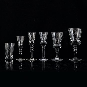 A 41-piece glasservice from Reijmyre, second half of the 20th Century.