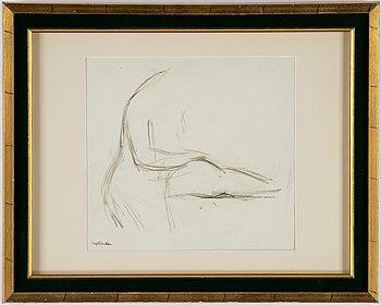 Inge Schiöler, pencil drawing, stamed signature.