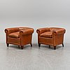 A pair of leather upholstered club chairs, 1930/40's.