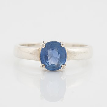 Silver and sapphire ring.