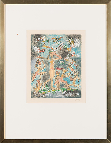 Roberto matta, colour etching, signed and numbered 66/100.