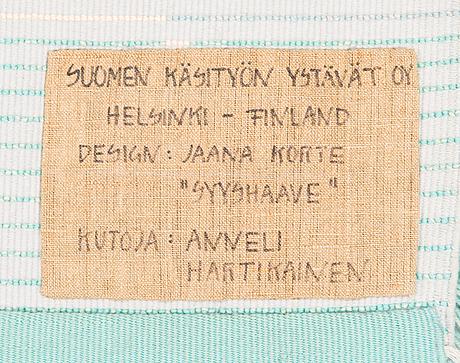 Jaana korte, a finnish long pile rug for the friends of finnish handicraft. circa 96x90 cm.