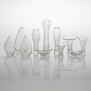 Tapio Wirkkala, a collection of 11 signed art glass.