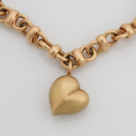 Jarl sandin, 18k gold necklace with brilliant cut diamond ca 0,02 ct, göteborg, 2006.