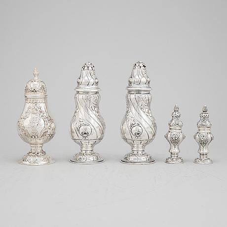 2+2+1 rococo style silver sugar shakers, swedish import mark.