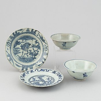 A group of Chinese blue and white porcelain, Ming dynasty (1368-1644).