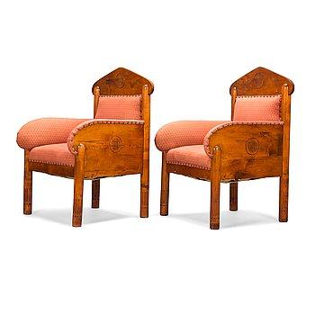 Kauno S. Kallio and Arvid Rundberg, a pair of 1902 armchairs.