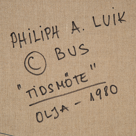 Arvo philiph luik, oil on canvas, signed. signed and dated 1980 verso.