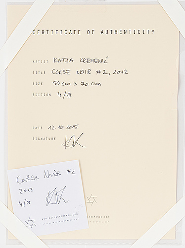 Katja kremenic, photographu, signed on certificate, edition 4/9.