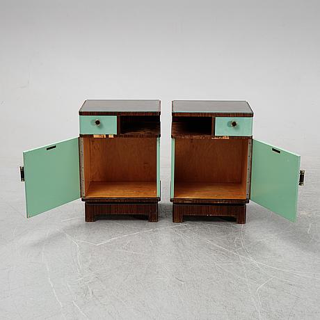 David blomberg, a pair of macassar veneered bedside tables, ab svenska möbelfabrikerna bodafors, 1930's.