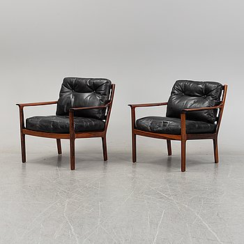 A pair of rosewood easy chairs, Bröderna Andersson, 1960's/70's.