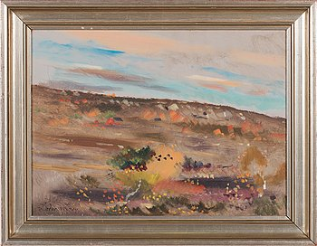 Lindorm Liljefors, oil on board, signed and dated -74.