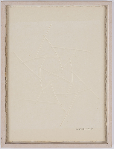 Lars englund, sculpture and paper relief signed and dated 99.