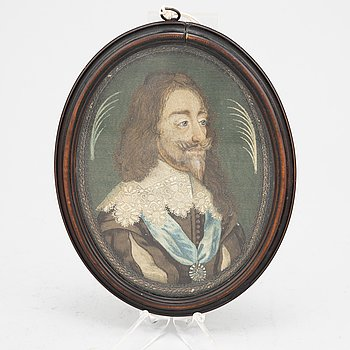 Miniature/embroidery, early 19th Century after Anthony van Dyck.