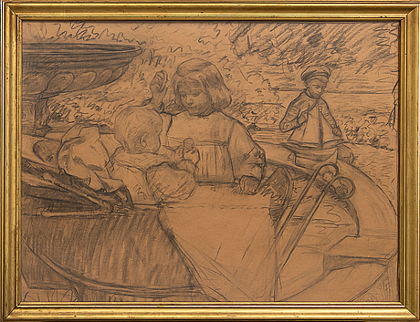 Gad fredrik clement, drawing, signed.